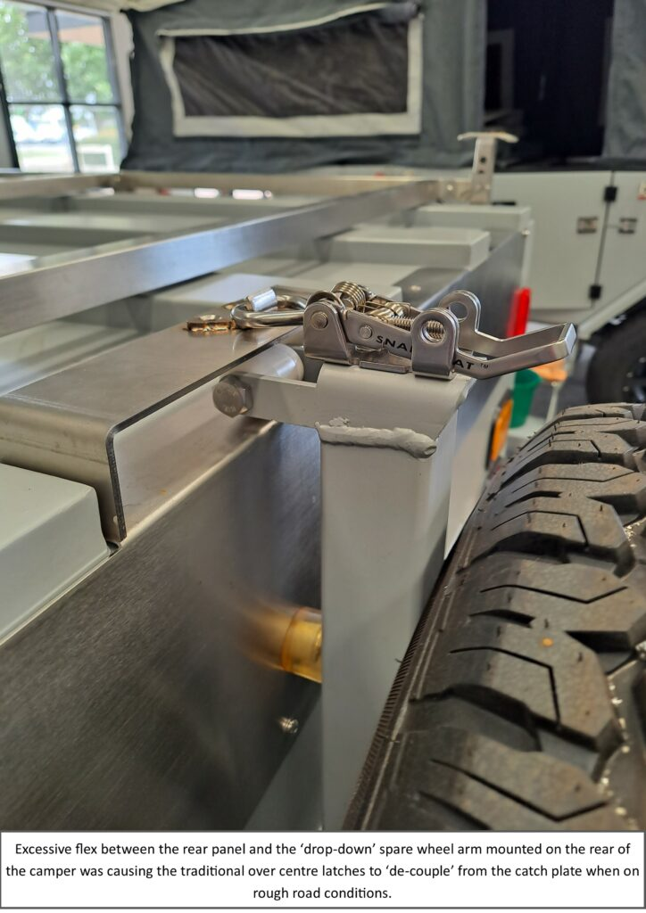 Example application of Snap-Flat latch, fitted on a Lazy Lizard camping trailer, where the fail safe feature resolves a problem caused by traditional over centre latches