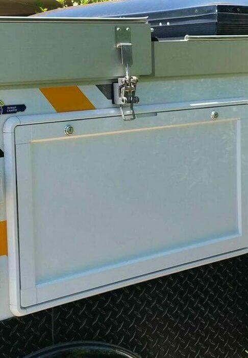 Photo showing Caravan style Snap-Flat latch retrofitted to a Pop Top Caravan