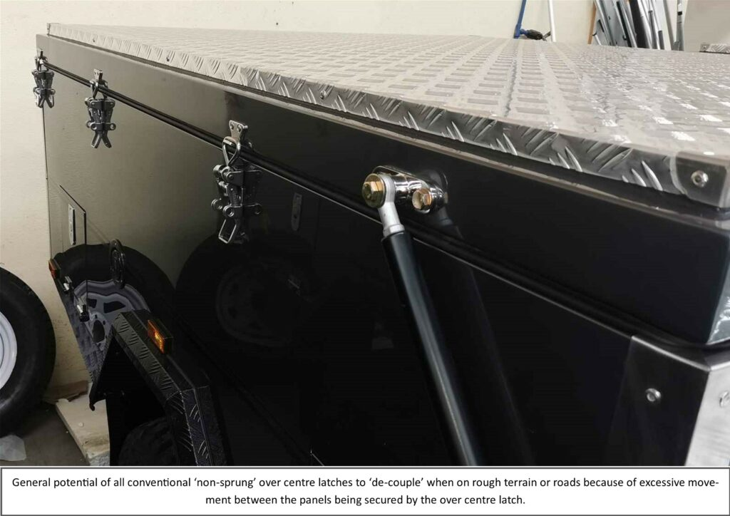 Photo showing Snap-Flat lacthes fitted to PMX Camper Trailer