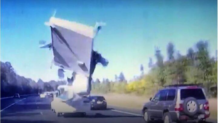 Photo of Caravan Pop Top blowing off