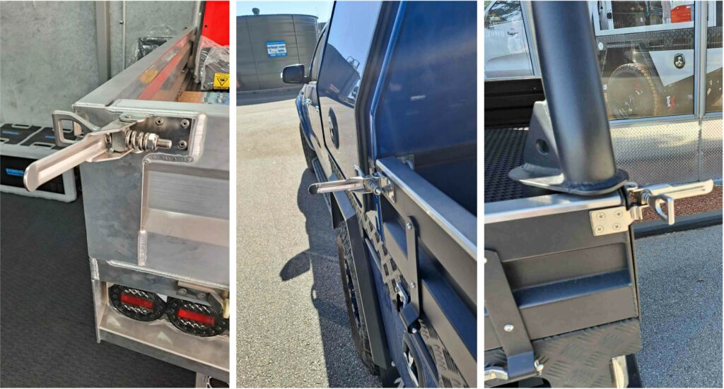 Photos showing examples of over centre latches protruding from ute trays