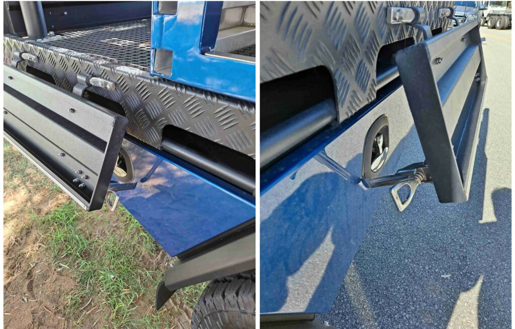 Photo showing how over centre latches can damage a ute's paintwork